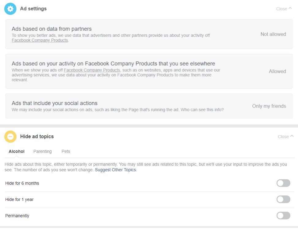 Deny facebook data collection