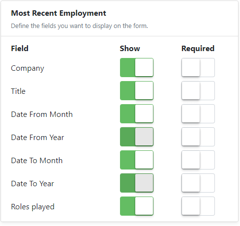 most recent emplyment sub form